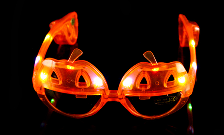 Halloween Party Ornament Electronic Gifts Skull Shaped Eyeglasses Led Light