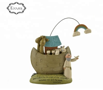Resin Noah's Ark religious ornaments with rainbow