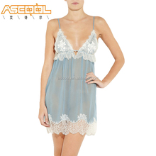 High Quality 100% Polyester Anti-bacterial Adult Women Sexy Romantic Sleepwear