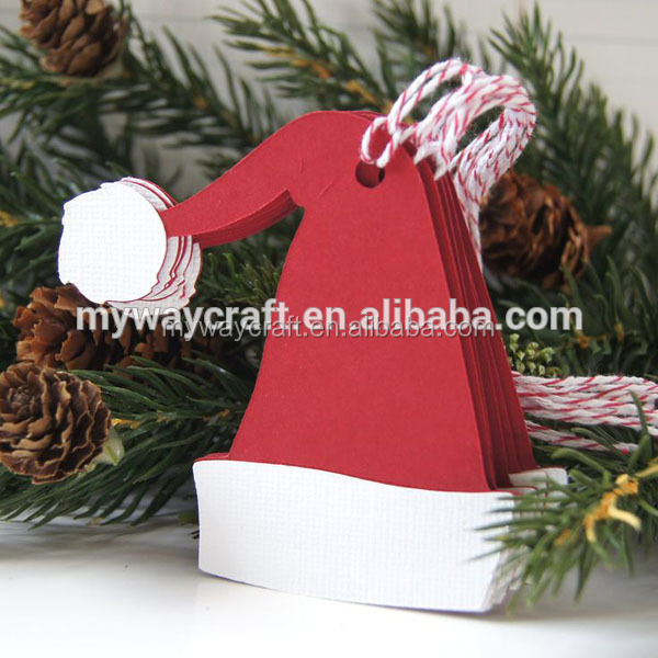 Fancy design red santa hat shaped christmas gift tags for christmas tree decoration