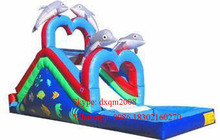 factory price dolphin inflatable inflatable water pool slide/ inflatable water slide for kids and adults