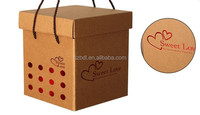 Custom stronger craft brown paper box with handle for gift packing