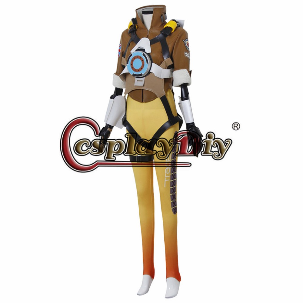 Game Overwatch Tracer Lena Oxton Adult Women Halloween Cosplay Costume Custom Made