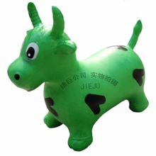Green cow, inflatable free PVC animal hopper toy, from Chinese kids game factory