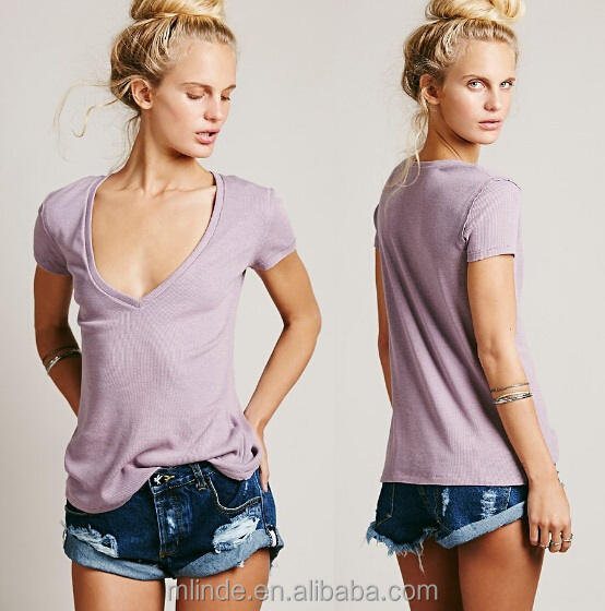 casual cottons t-shirt women lady Super soft ribbed deep V tee t shirt with raw trim