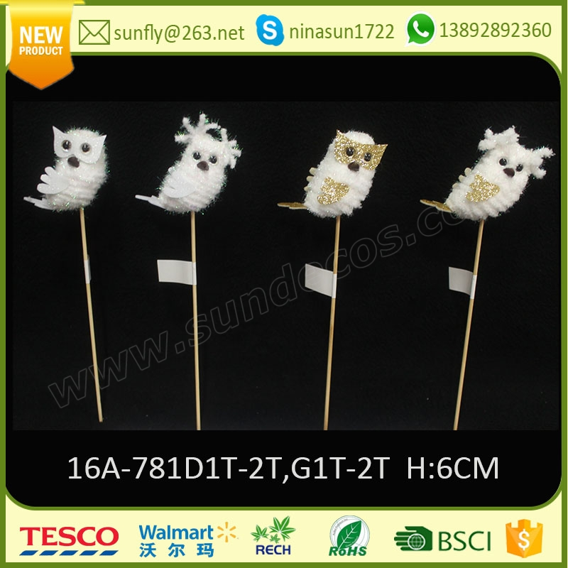 2016 holiday time wholesale christmas decorations china christmas home ornaments owl with stick
