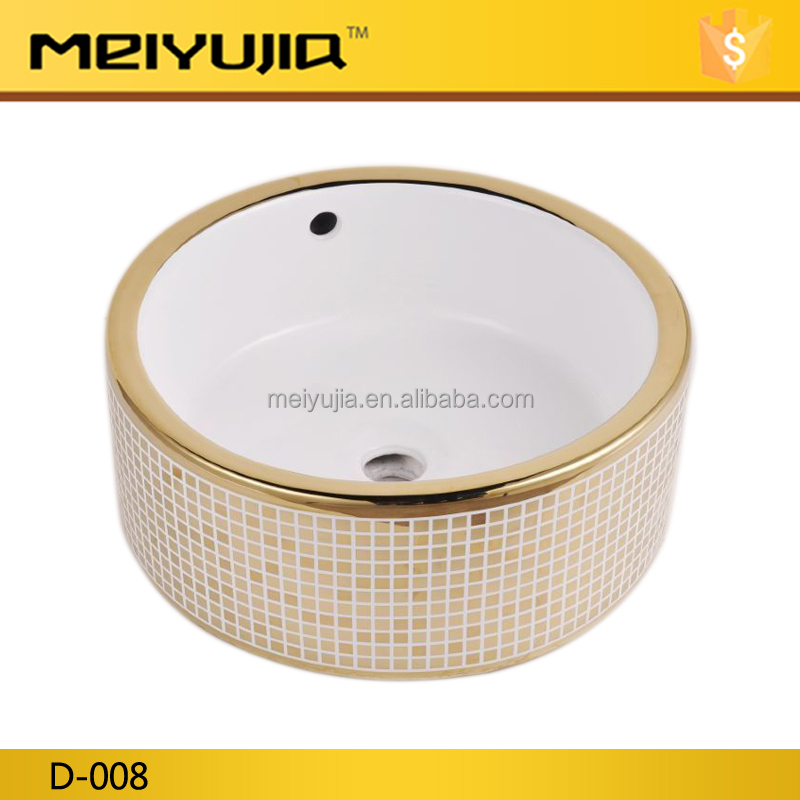 D-008 Hot Sale gold colored ceramic hand wash basin price
