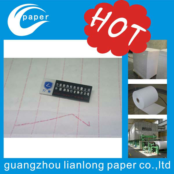 Custom special invisible fiber paper with silver security thread