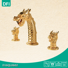 Gold-plated dragon shape faucet with dual crystal handle