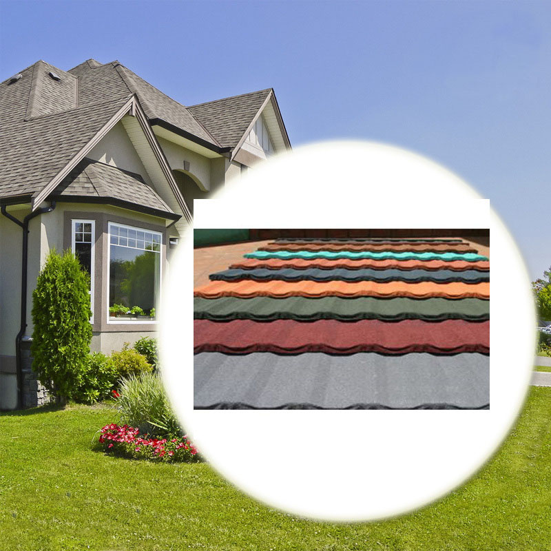 Waviness color stone chip coated metal roof tile
