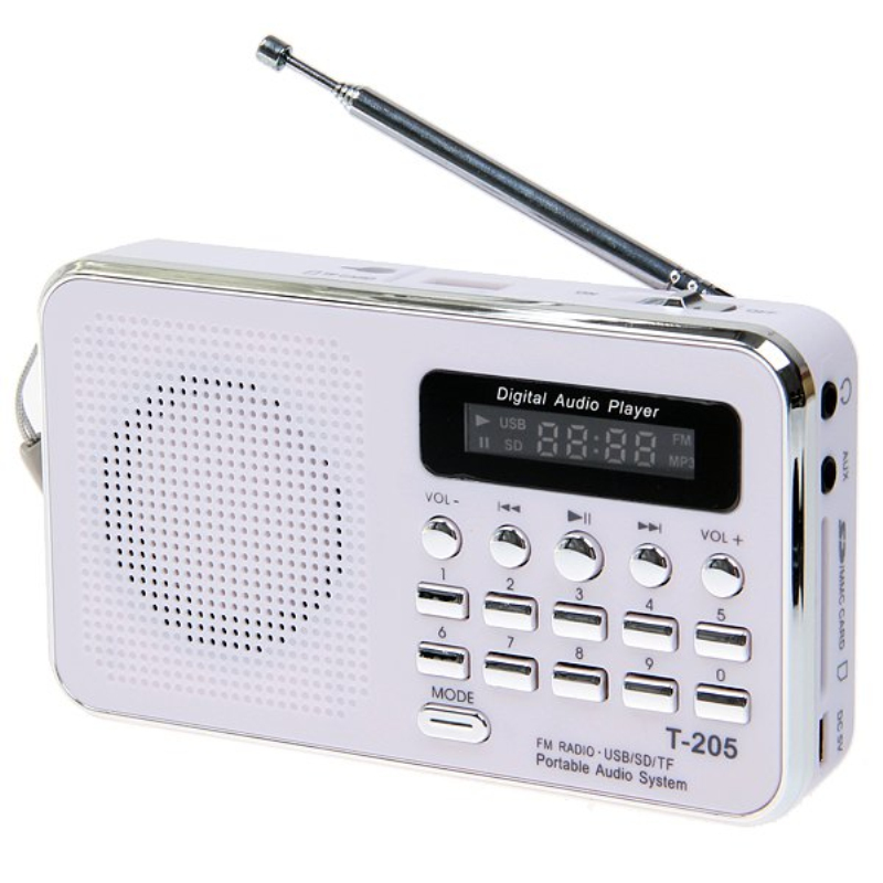 Hot Sale FM Radio Portable HiFi Card Speaker Digital Multimedia MP3 Music Loudspeaker White Camping Hiking Outdoor Sports