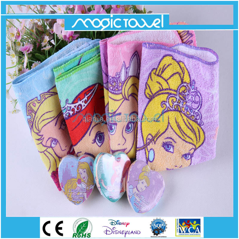 100% cotton heart shape compressed towel magic face washcloth with princess cartoon printing