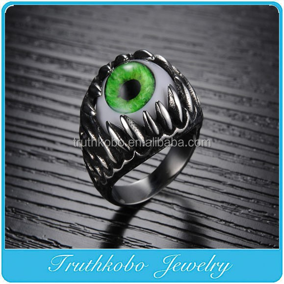 TKB-R0168 Men's Boys Biker Gothic Goth Fun Halloween Party Stainless Steel Silver Dragon Teeth Evil Green Eye Cool Ring