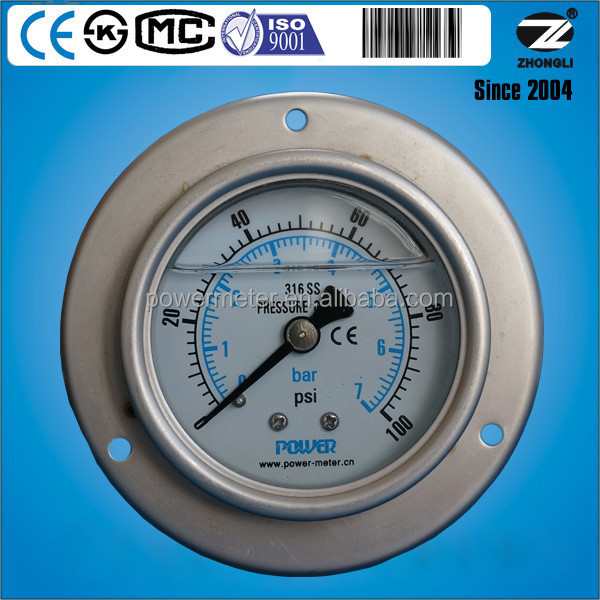 2.5 inch Wika type panel mount pressure gauge for glycerin or silicone oil filling