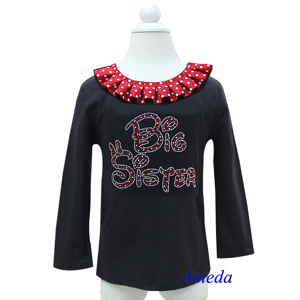 Red White Polk Dots Collar Bling Rhinestone Red Big Sister Black Long Sleeves Top 1-7Y