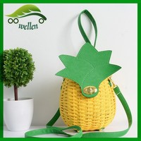 2015 Promotion Summer Vintage Style wholesale woman woven pineapple straw beach bag