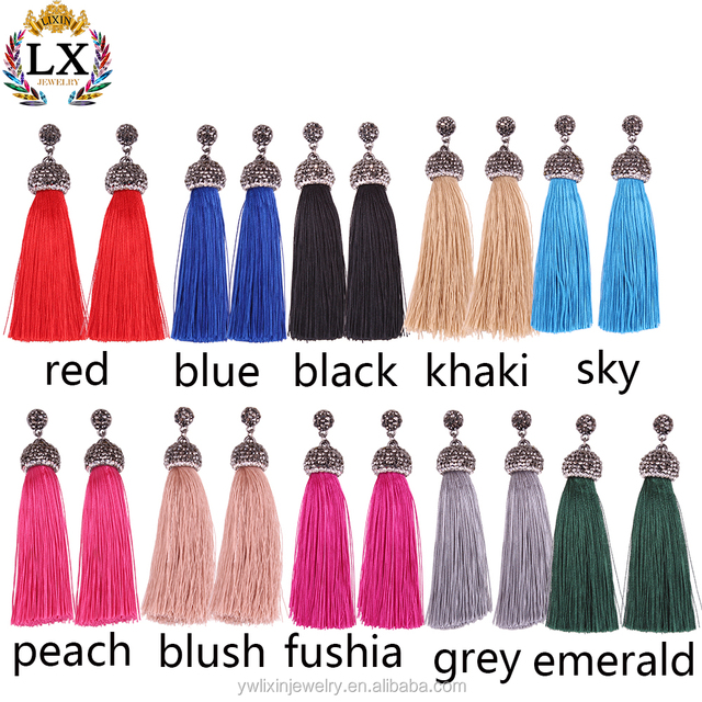ELX-00861manufacturer colorful silk rhinestone crystal tassel earrings long diamond tassel earrings stud pave diamond jewelry