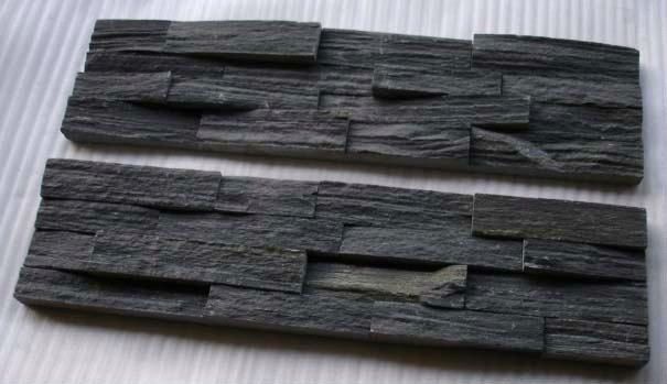 Noir de charbon de mur en ardoise placage d corative mur for Pierre decorative murale quebec