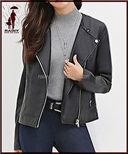 denim leather jacket for long sleeve women 2016 made in China