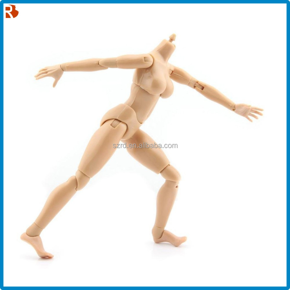 12inch flesh color removable action figure/female girl nude body play toy/plastic fantasy action figures