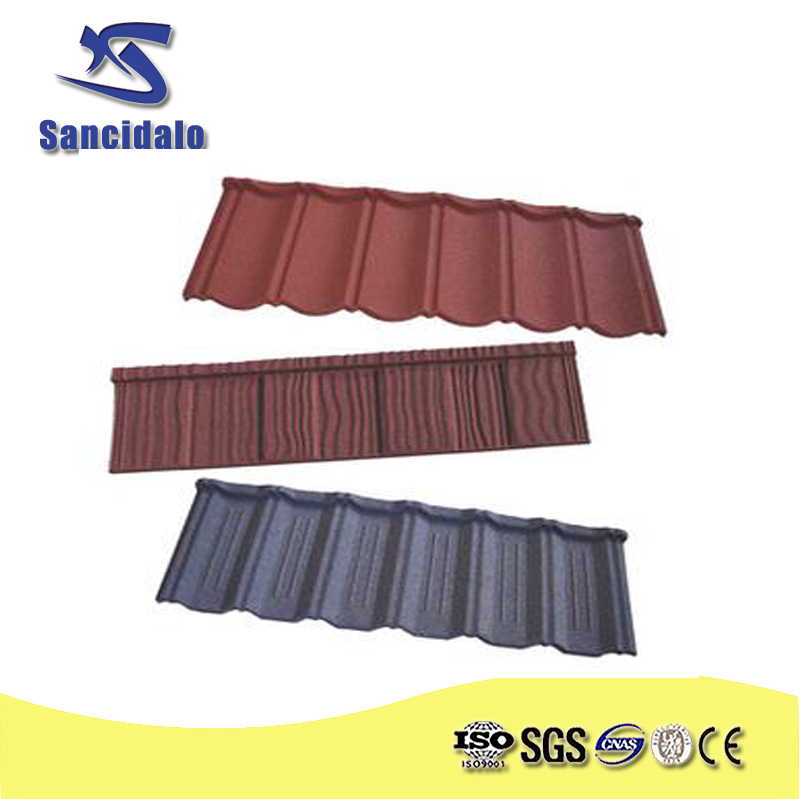 shandong Color stone coated metal roofing tile/50 years warranty