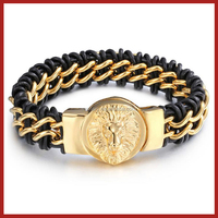 2016 Leather Wrap Gold Lion Head
