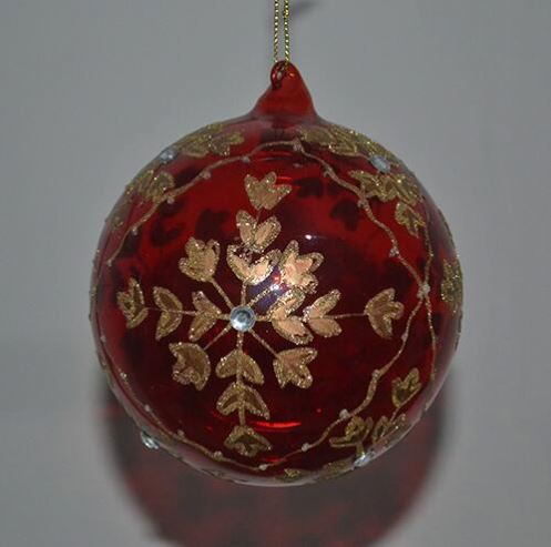 Christmas Portrait Inside Clear Glass Ball With Lace Tree Ornament