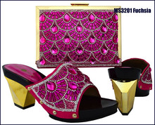 Fashion style big size italian matching shoe and bag with crystal for party MS3201 Fuchsia