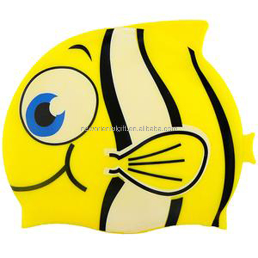 Cartoon Fish Shape Waterproof Silicone Swim Cap