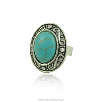 Factory wholesale price green turquoise beautiful ring very hot sale fashion ring for 2015