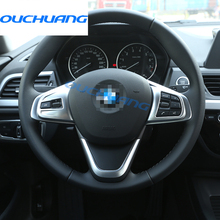 For BMW 1 2 series 118i 120i 218i f52 X1 F48 2016 2017 Car-styling ABS Chrome Steering Wheel Button Cover Trim Accessories 2pcs