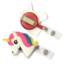 Lovely unicorn ID card ID badge retractable wire reel key Belt Clip for kids
