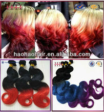 Factory supplier wholesale most fashionable mixed color hair weave extensions,ombre hair weaves