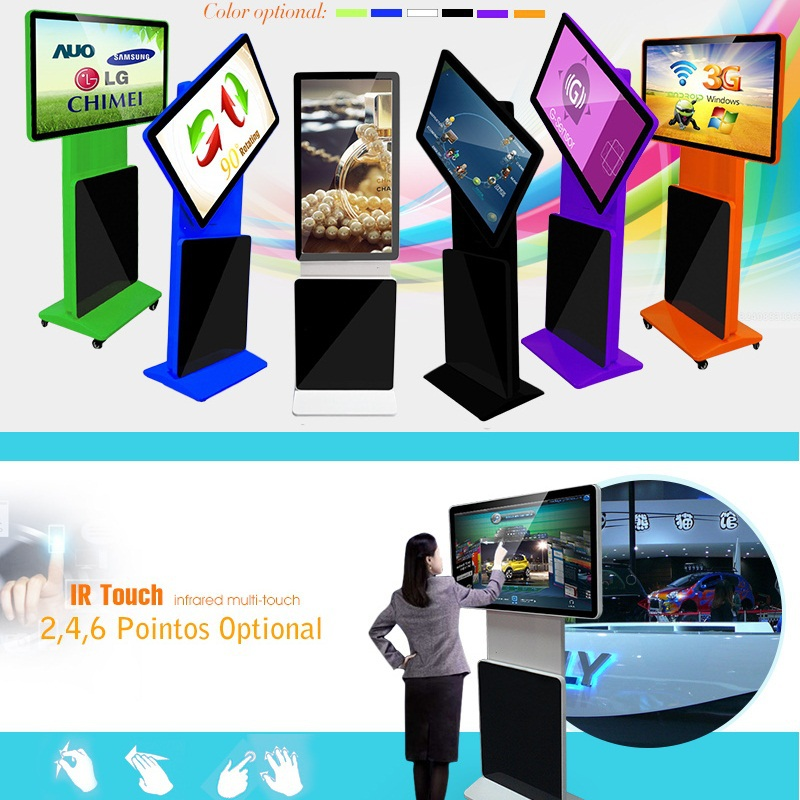 kiosk manufacturer 42 inch HD wifi rotating leds advertising display retail for sale
