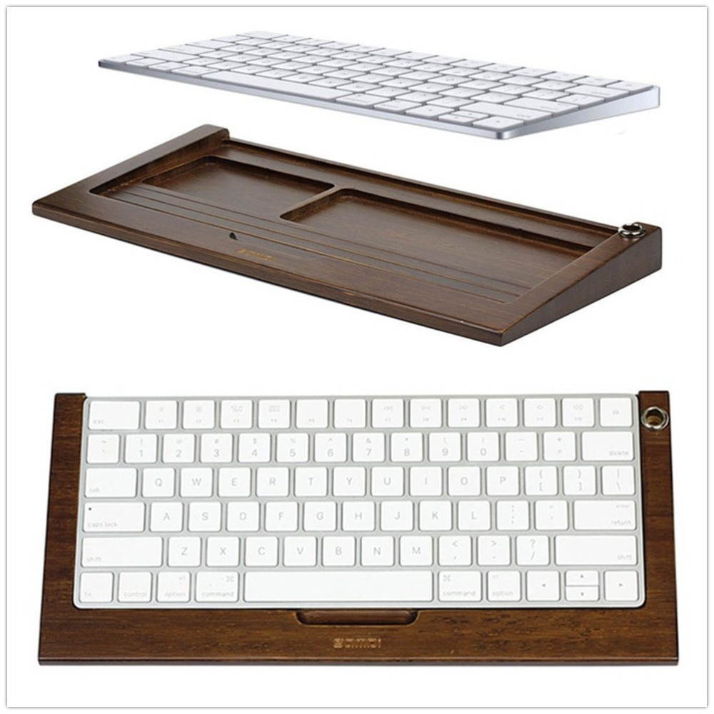 Samdi Wireless Bluetooth Keyboard Stand for iMac Magic Keyboard MLA22LL/A (Walnut/Bamboo wood) (Walnut)
