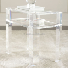 High Transparency Console Tables Home Lucite Furniture with Book Holder Clear Acrylic Table with Shelf