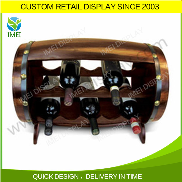 Countertop Stand Floor Display Barrels Wooden Red Wine Rack/Shelf