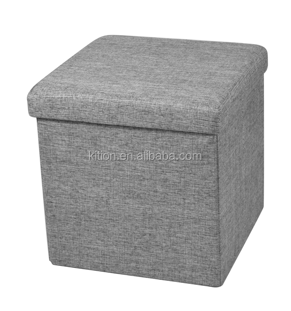 Polyester linen fabric storage ottoman