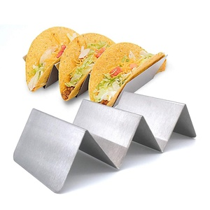 Mexican Food Tableware Stainless Steel 3 Hard Shell Taco Holder For Fast Catering