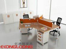 High tech luxury semi round shape office desk cubicle workstation for 3 people