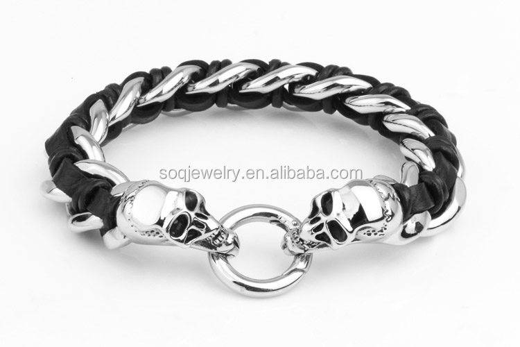 Custom high quality stainless steel jewelry two stone skull woven chain bracelet popular style hot sell