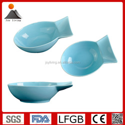 Hot Sale glazed ceramic fish shaped serving dish and fruit bowl Blue