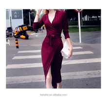 The Western style New Brand 2016 Lady V-neck Long Sleeve Band-up Sooth Long Dresses Burgundy Red Popular pajamas outfit