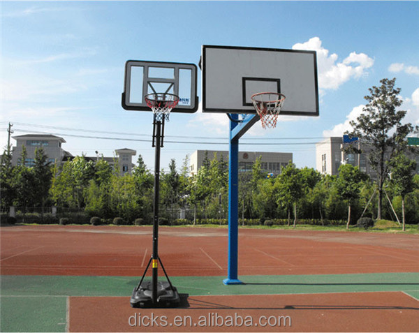Outdoor 3pcs Round Pole Basketball Stand Adjust Height Basketball Board