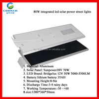 Solar Panel 18V 86W 50W Bluetooth Control All in One Solar Street Light