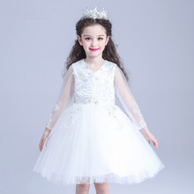 S31309W Kids ball gown wedding dress pictures white fancy party dress
