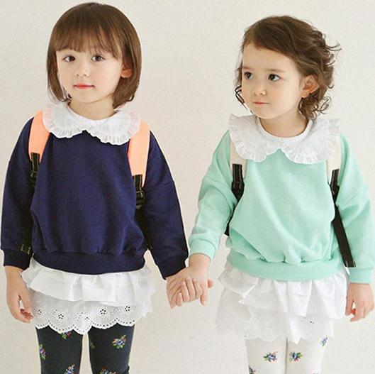 latest european prince Preppy style Leisure T-shirt coat for baby girls