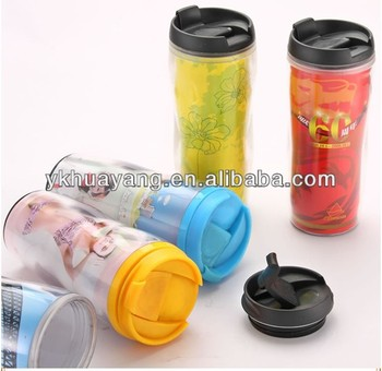newest bpa free plastic insulated mug (350ml with peper insert)