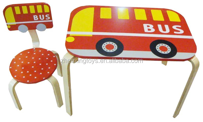 Bestselling cartoon red bus wood kids table chairs buy - School bus table and chair ...