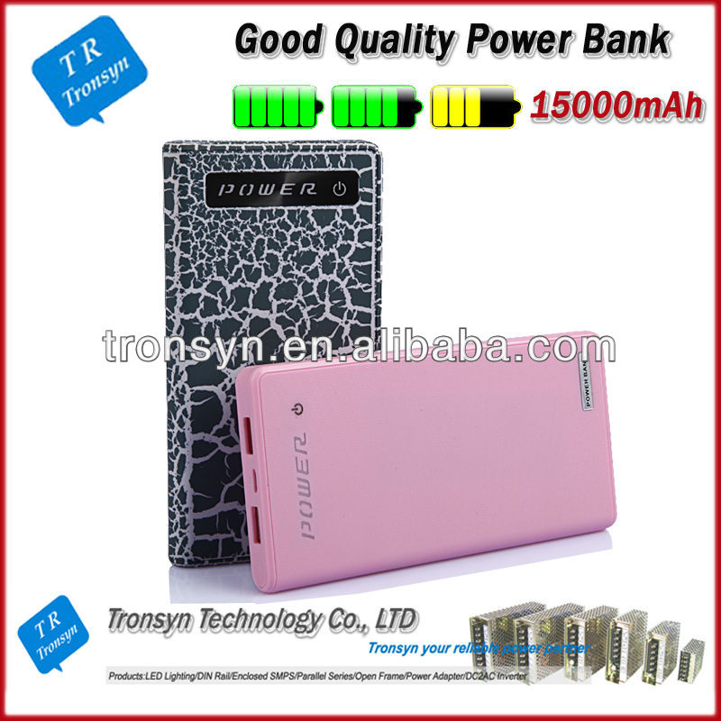 2013 hot selling 15000mah mobile rechargeable power bank charger Supports charging of iPhone, iPod , Samsung, HTC and Nokia